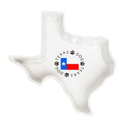Texas Shaped Ceramic Dog Bowl