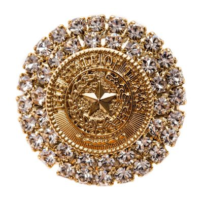 Texas State Seal Gold Tone Brooch