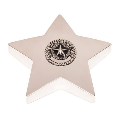 Silver Star Texas State Seal Paperweight