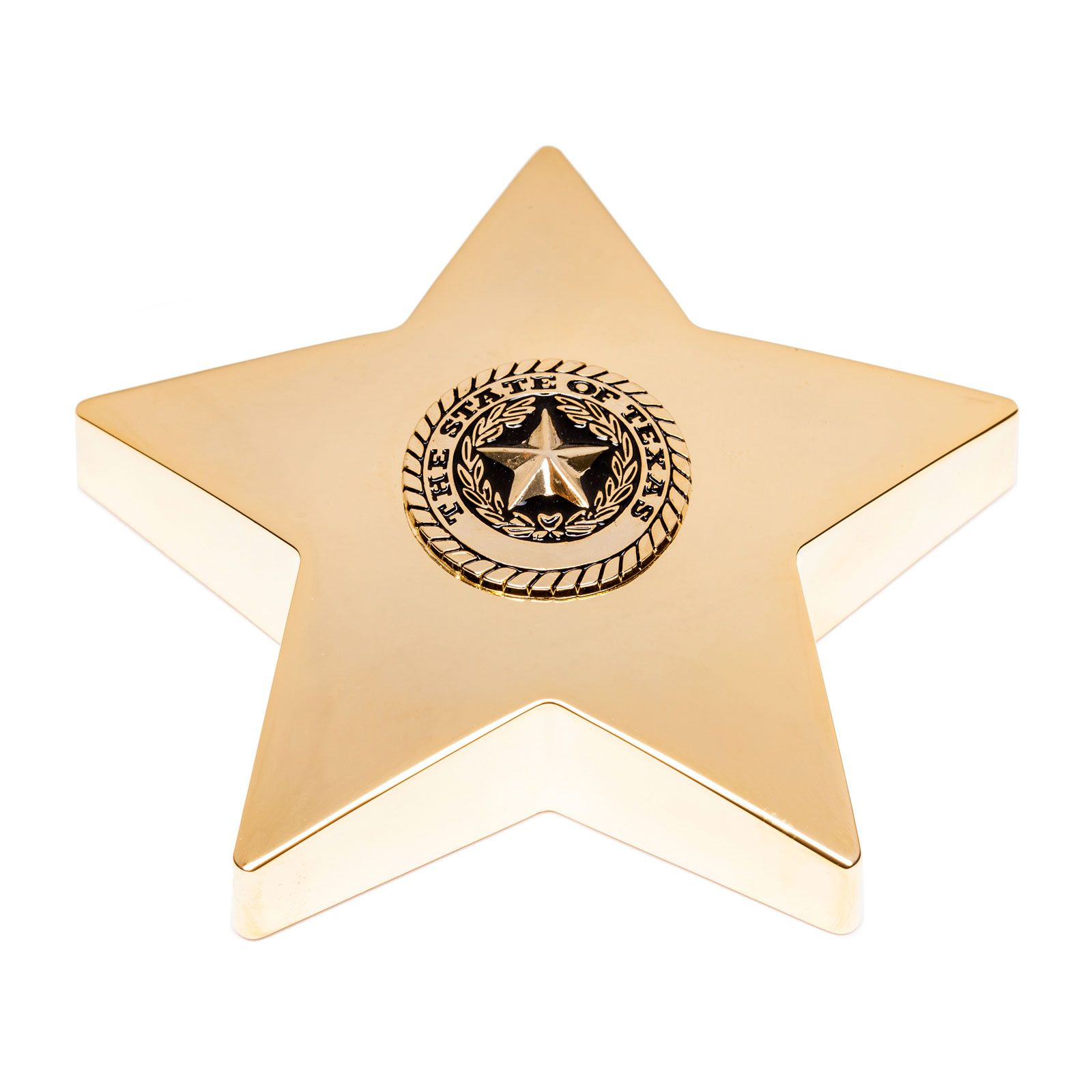 Texas State Seal Gold Tone Star Paperweight