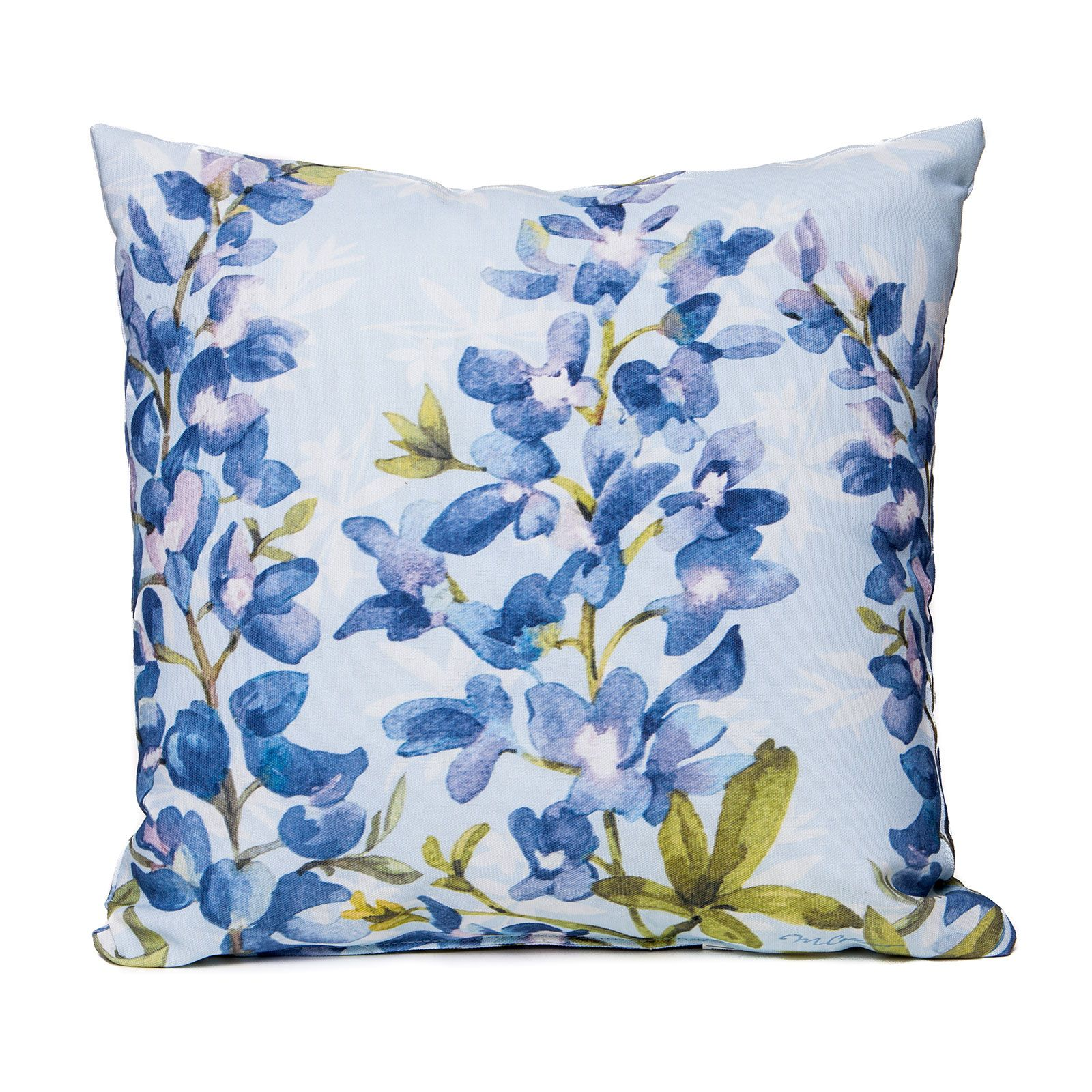Bluebonnet Watercolor Accent Pillow