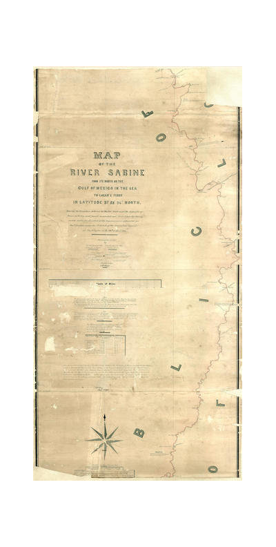 A.B. Gray Map of the River Sabine from its mouth on the Gulf of Mexico in the Sea to Logan's Ferry, 1842 (pt. 2 of 3 - Center)