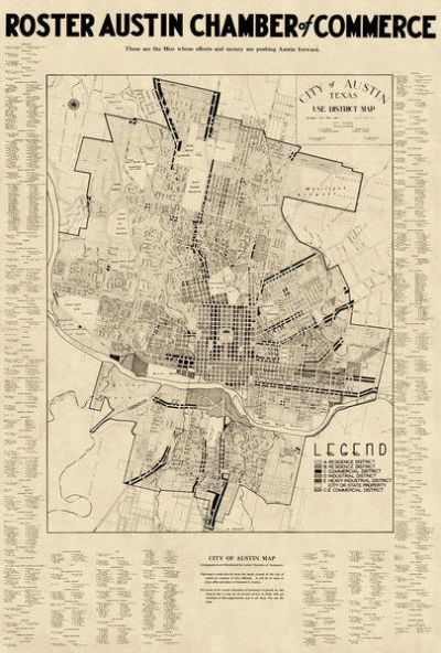 Austin Chamber of Commerce City of Austin, Texas: Use District Map with Chamber of Commerce Roster, 1939