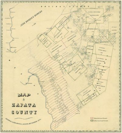 A. B. Langerman Map of Zapata County, 1879