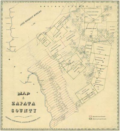 A. B. Langerman Map of Zapata County, 1879