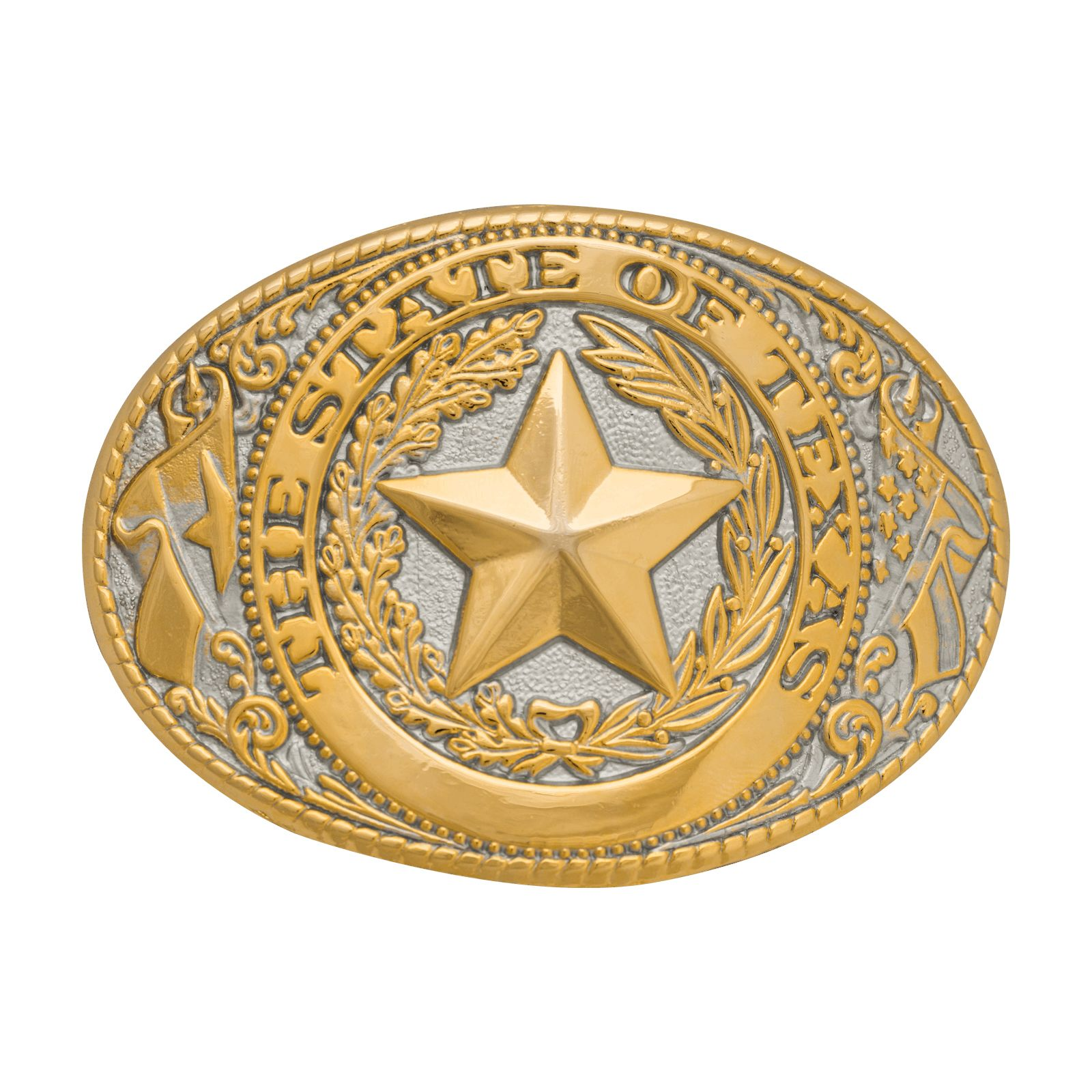 Texas State Seal Gold and Silver Tone Belt Buckle