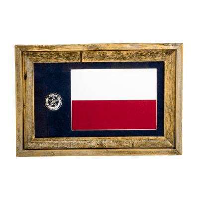 Framed Texas Flag with Replica Ranger Badge