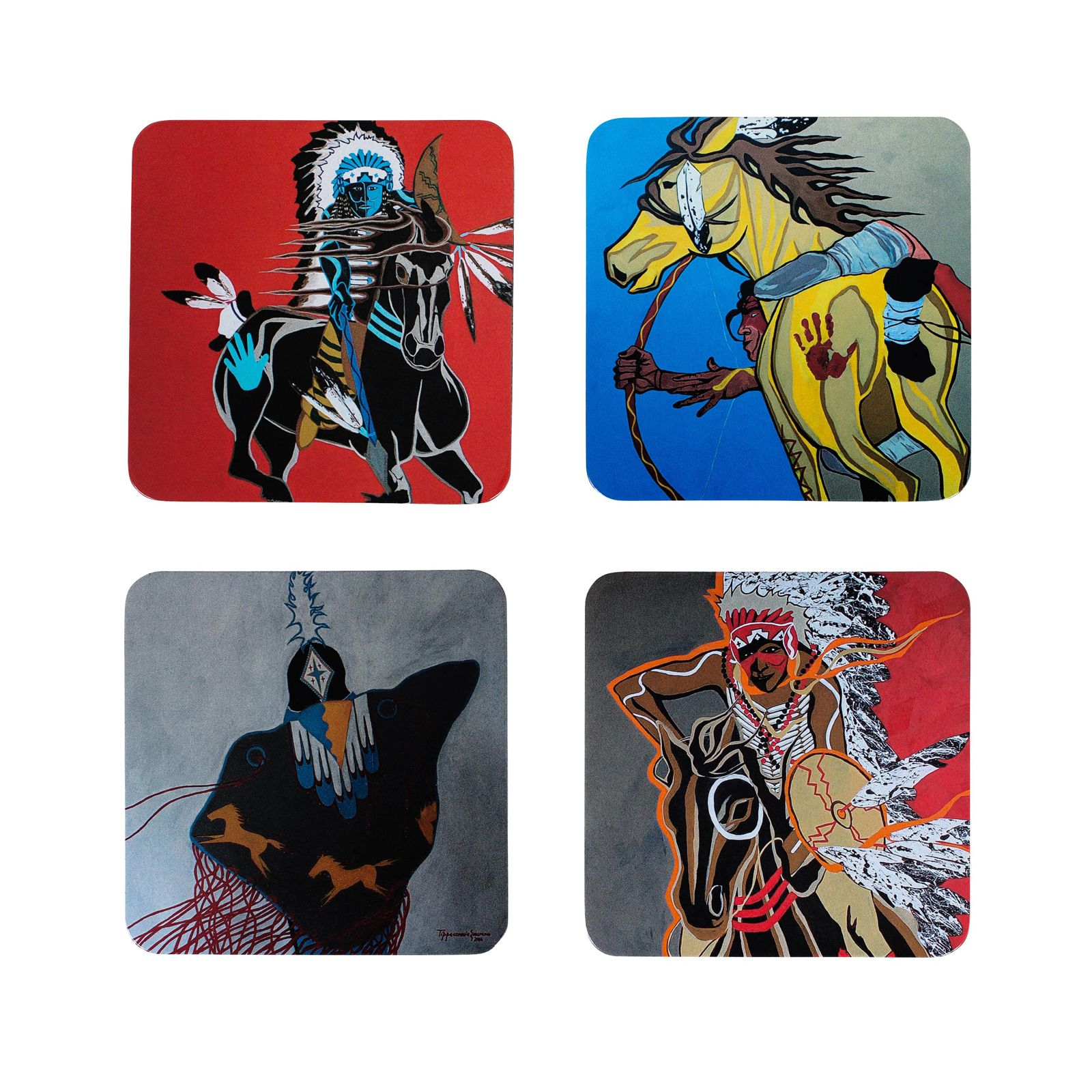 Eric Tippeconnic Comanche Motion Collection Coaster Set