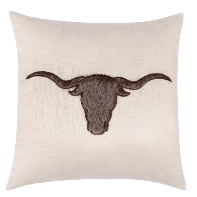 Longhorn Faux Fur Accent Pillow