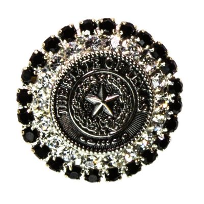Texas State Seal Silver Tone and Black Brooch