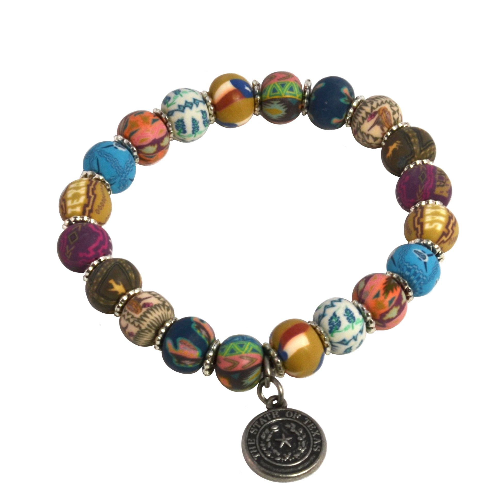 Texas State Seal Clay Bead Bracelet