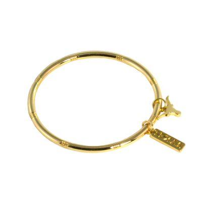 Texas Longhorn Charm Gold Tone Bangle Bracelet
