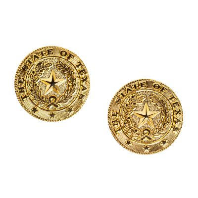 Texas State Seal Brass Earrings