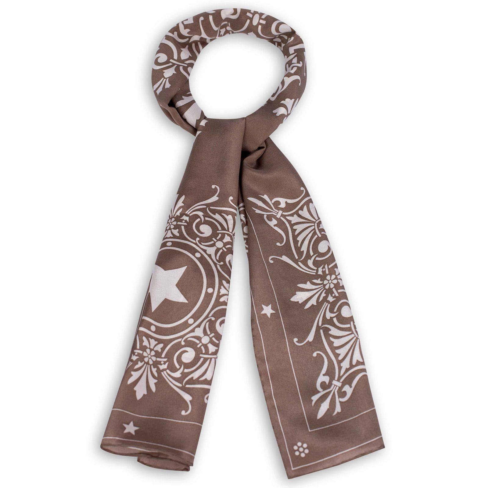 Capitol Window Taupe Silk Crepe de Chine Scarf