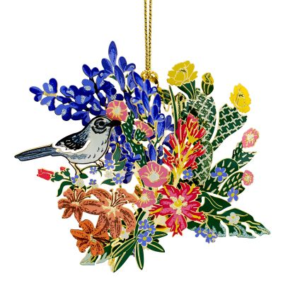 Mockingbird with Wildflowers Ornament