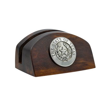 Texas State Seal Desert Wood Business Card Holder