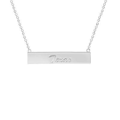 Silver Tone Texas Bar Necklace