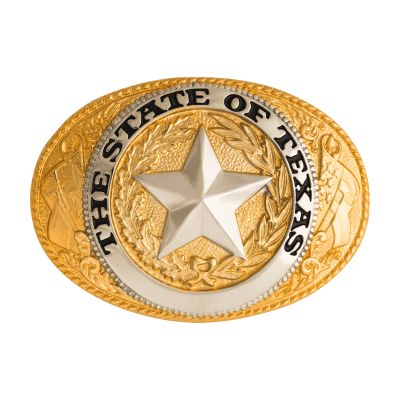 Gold Plated State Seal Belt Buckle