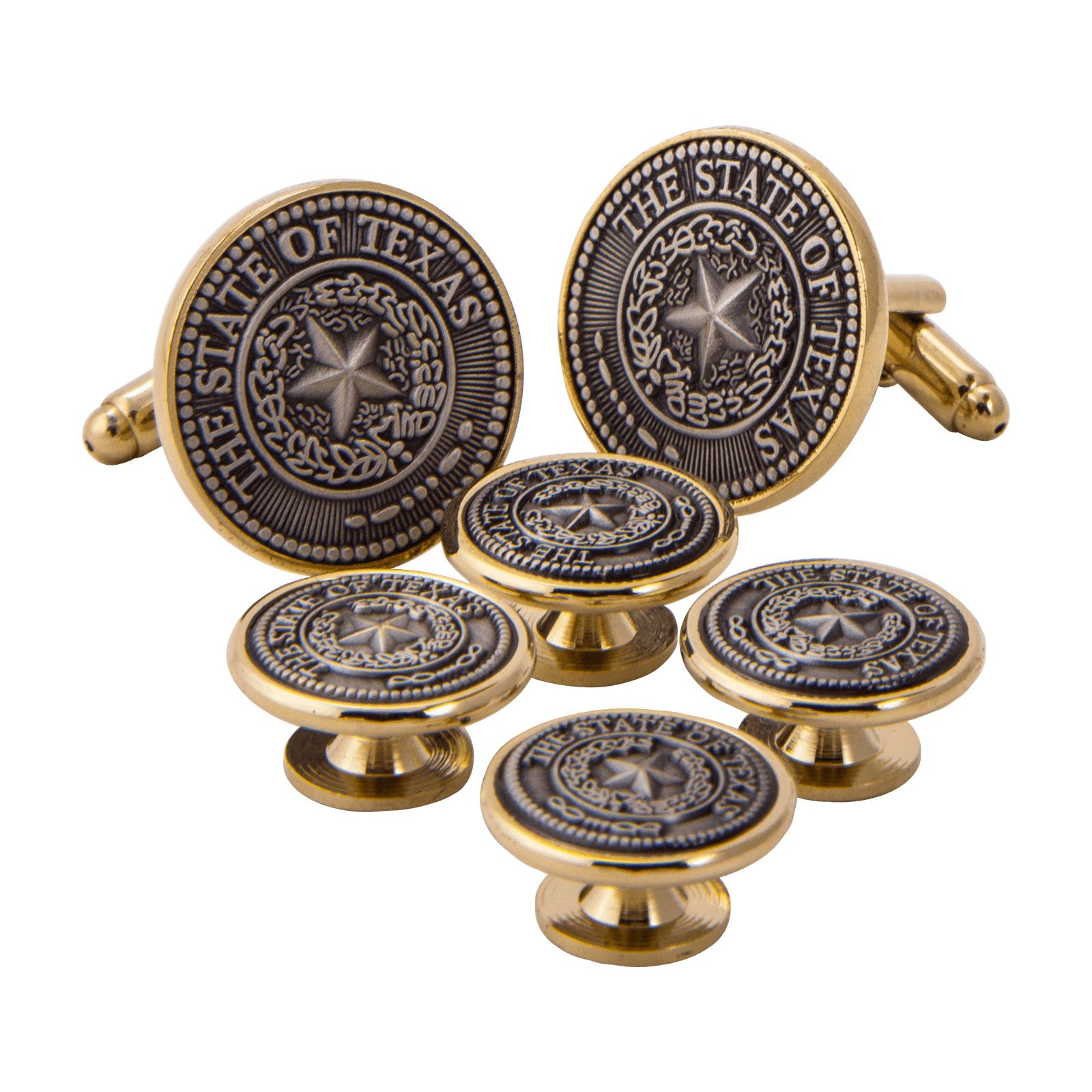 Texas State Seal Pewter and Gold Tone Tuxedo Set