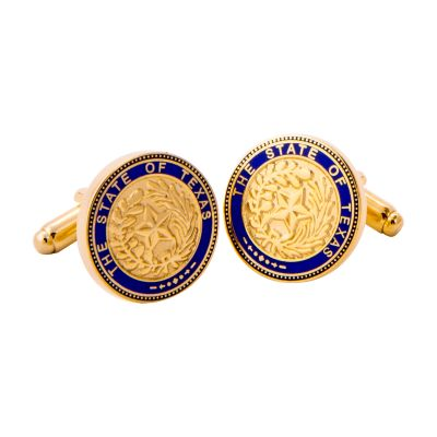 Texas State Seal Blue and Gold Tone Cuff Links