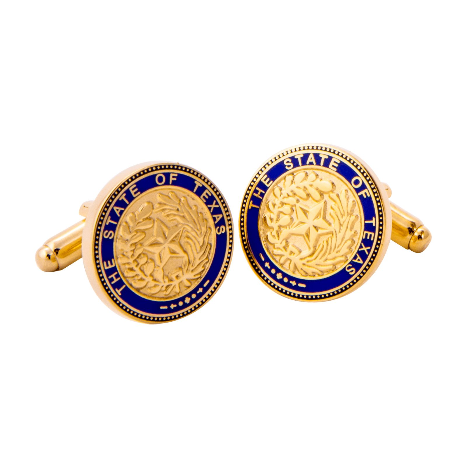 Texas State Seal Blue and Gold Tone Cufflinks