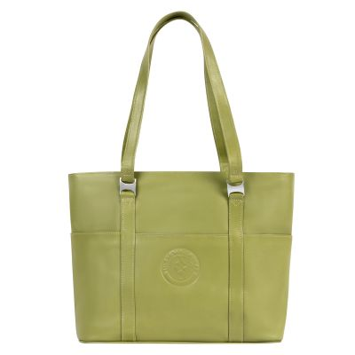 Green Leather Computer Tote Bag