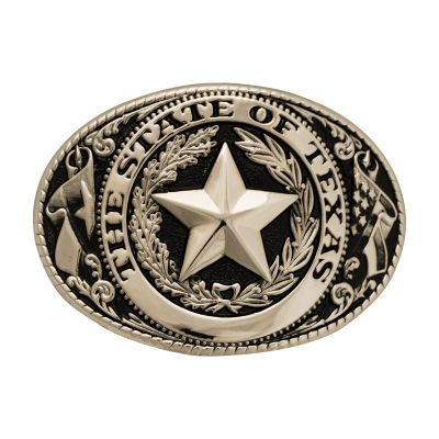 Texas State Seal Silver Tone and Black Belt Buckle