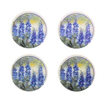 Bluebonnet Watercolor Stoneware Coaster Set