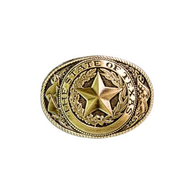 Texas State Seal Small Brass Belt Buckle