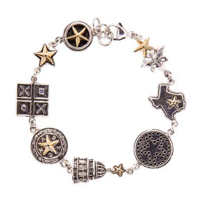 Texas 8 Charm Sterling Silver Bracelet