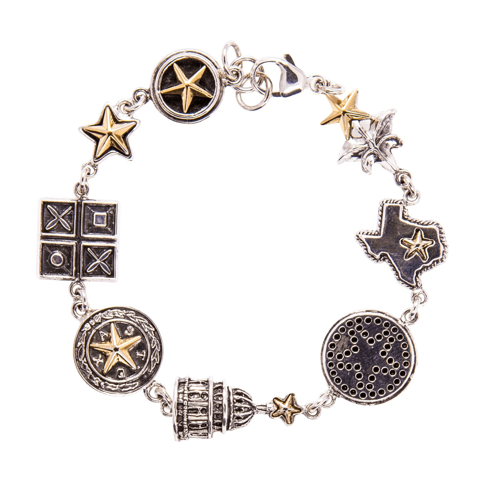 Texas 8 Charm Sterling Silver Bracelet