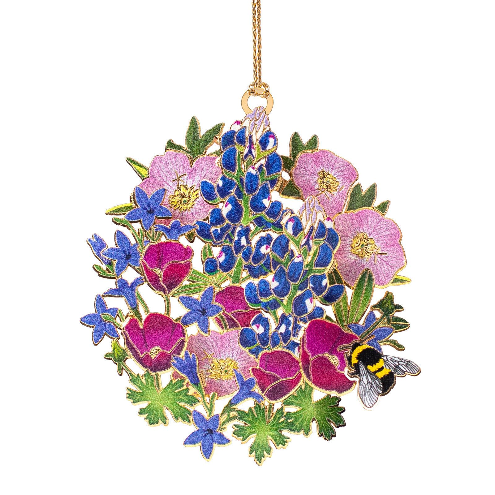 Bumble Bee with Wildflowers Ornament