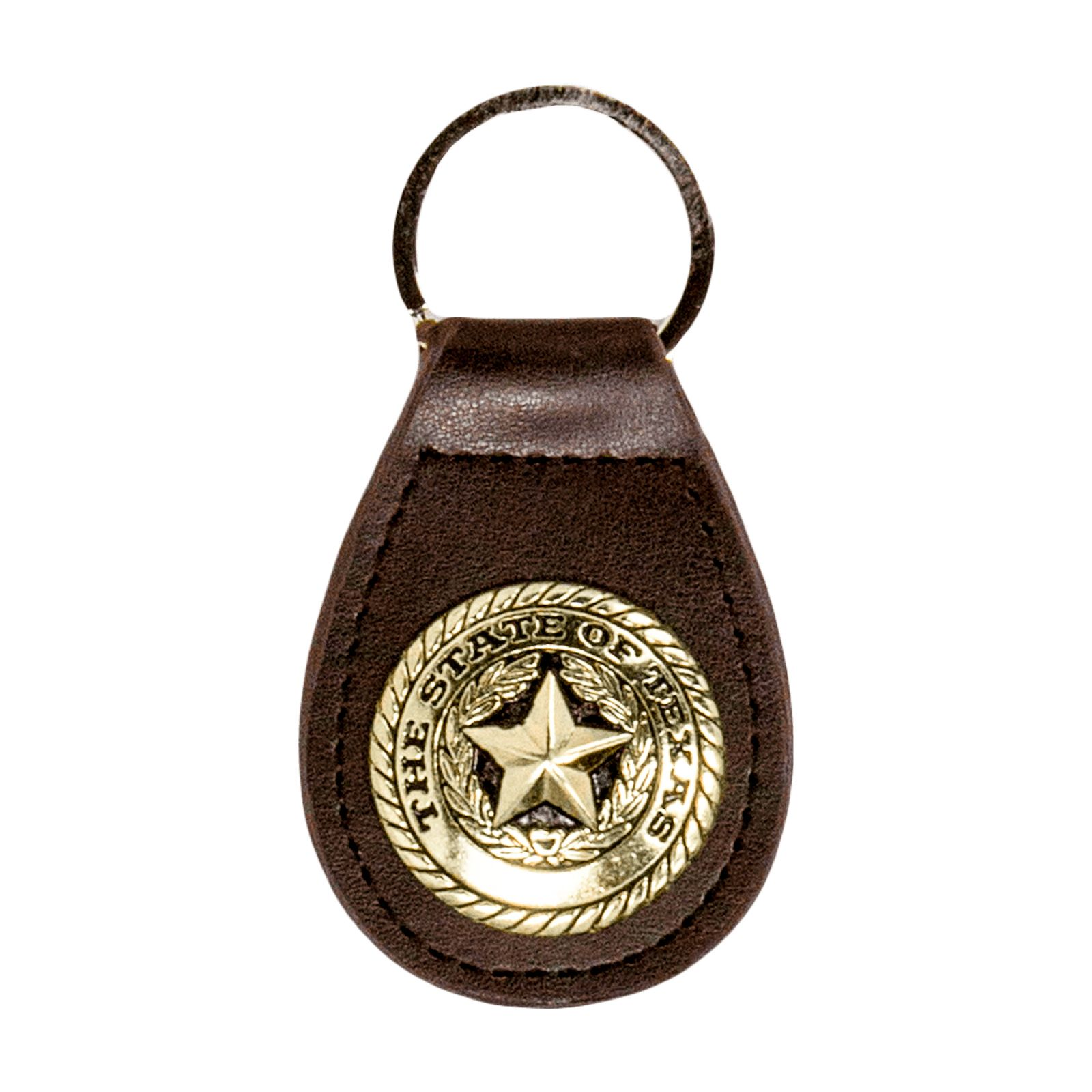 Texas State Seal Brown Leather Keychain