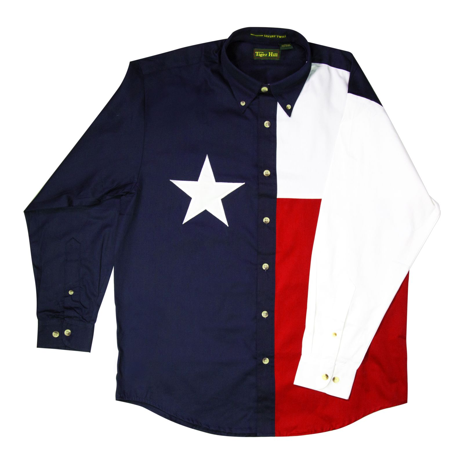 Long-Sleeved Texas Flag Collared Shirt
