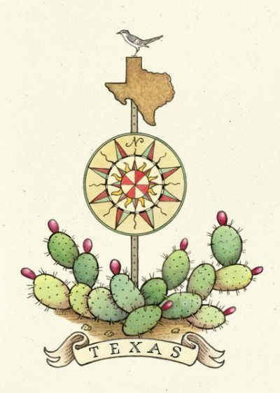 Aletha St. Romain Texas Compass Rose Sign with Prickly Pear Cactus and Mockingbird