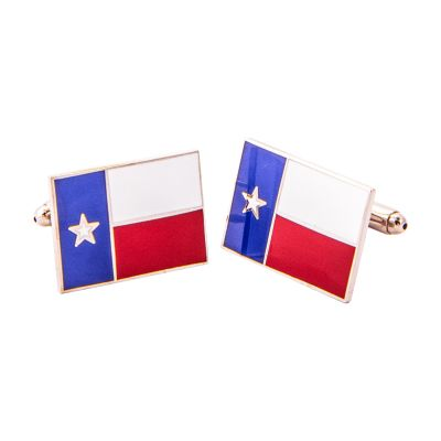 Texas State Flag Silver Tone Cuff Links