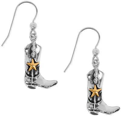 Cowboy Boots Sterling Silver with Gold Star Dangle Earrings