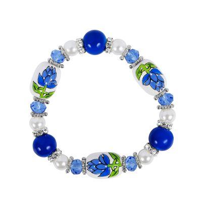 Bluebonnet Hand Painted Beaded Bracelet