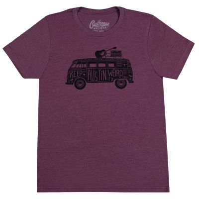 Keep Austin Weird Band Van Maroon T-Shirt