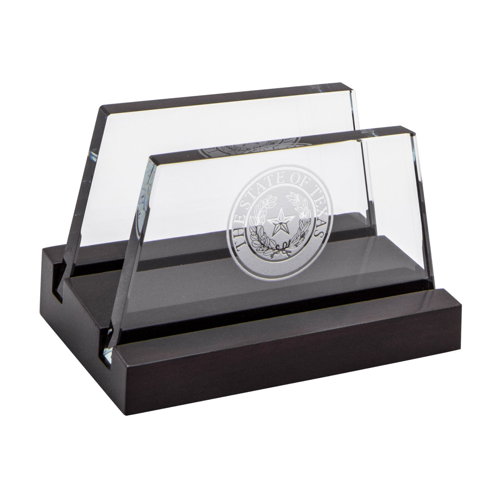 Texas State Seal Wood and Glass Desk Business Card Holder