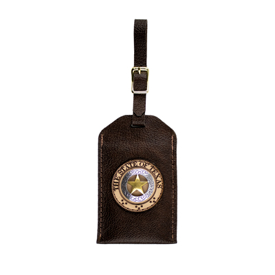 Duo-Tone Star Brown Leather Luggage Tag