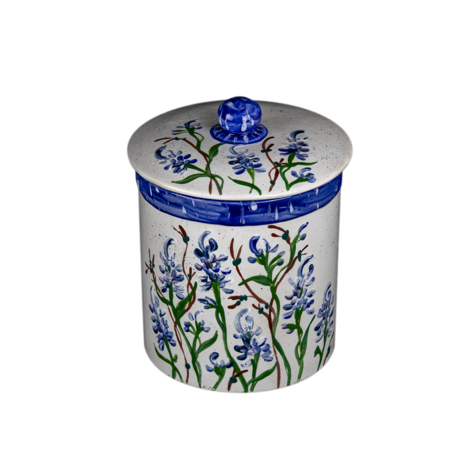 Bluebonnet Hand-Painted Ceramic Large Canister