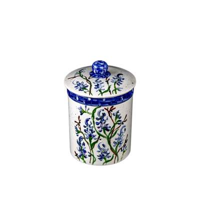 Bluebonnet Hand-Painted Ceramic Medium Canister