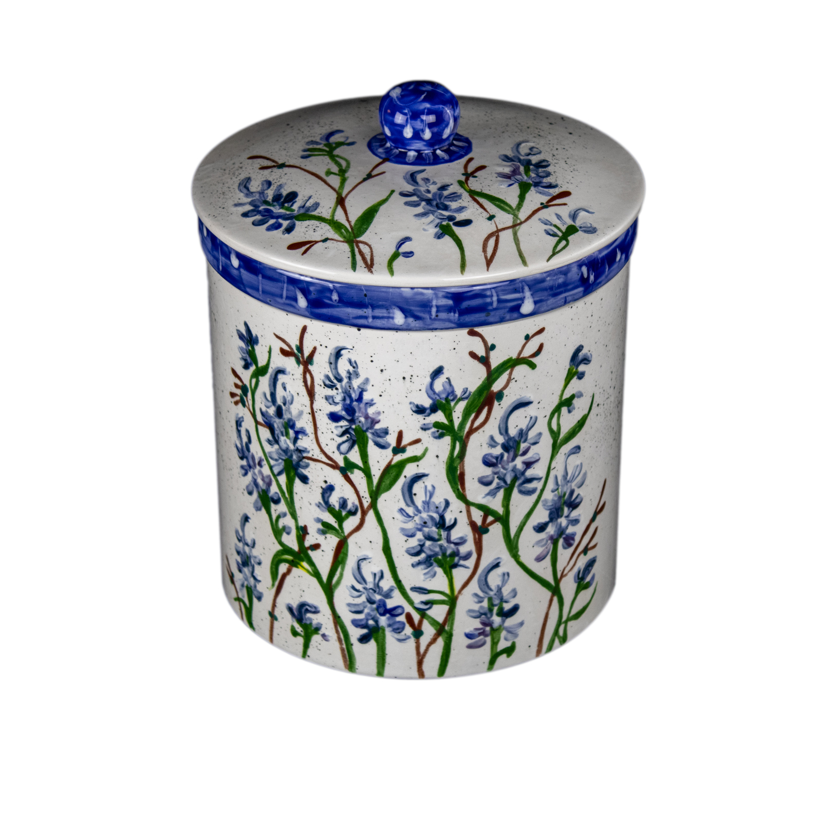 Bluebonnet Hand-Painted Ceramic Extra-Large Canister