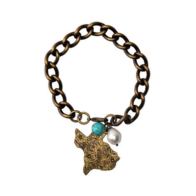 Texas Turquoise and Freshwater Pearl Brass Chain Bracelet