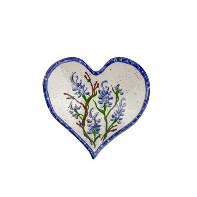 Bluebonnet Hand-Painted Ceramic Heart Dish