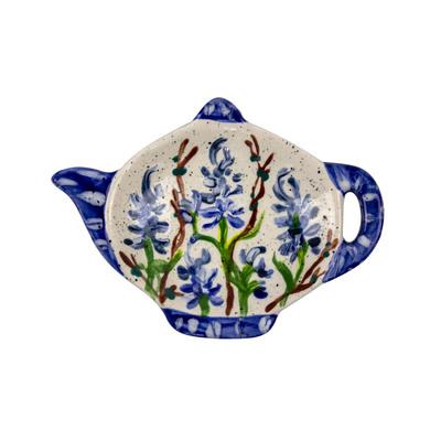 Bluebonnet Hand-Painted Ceramic Teabag Holder