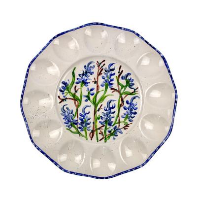 Bluebonnet Hand-Painted Ceramic Egg Tray