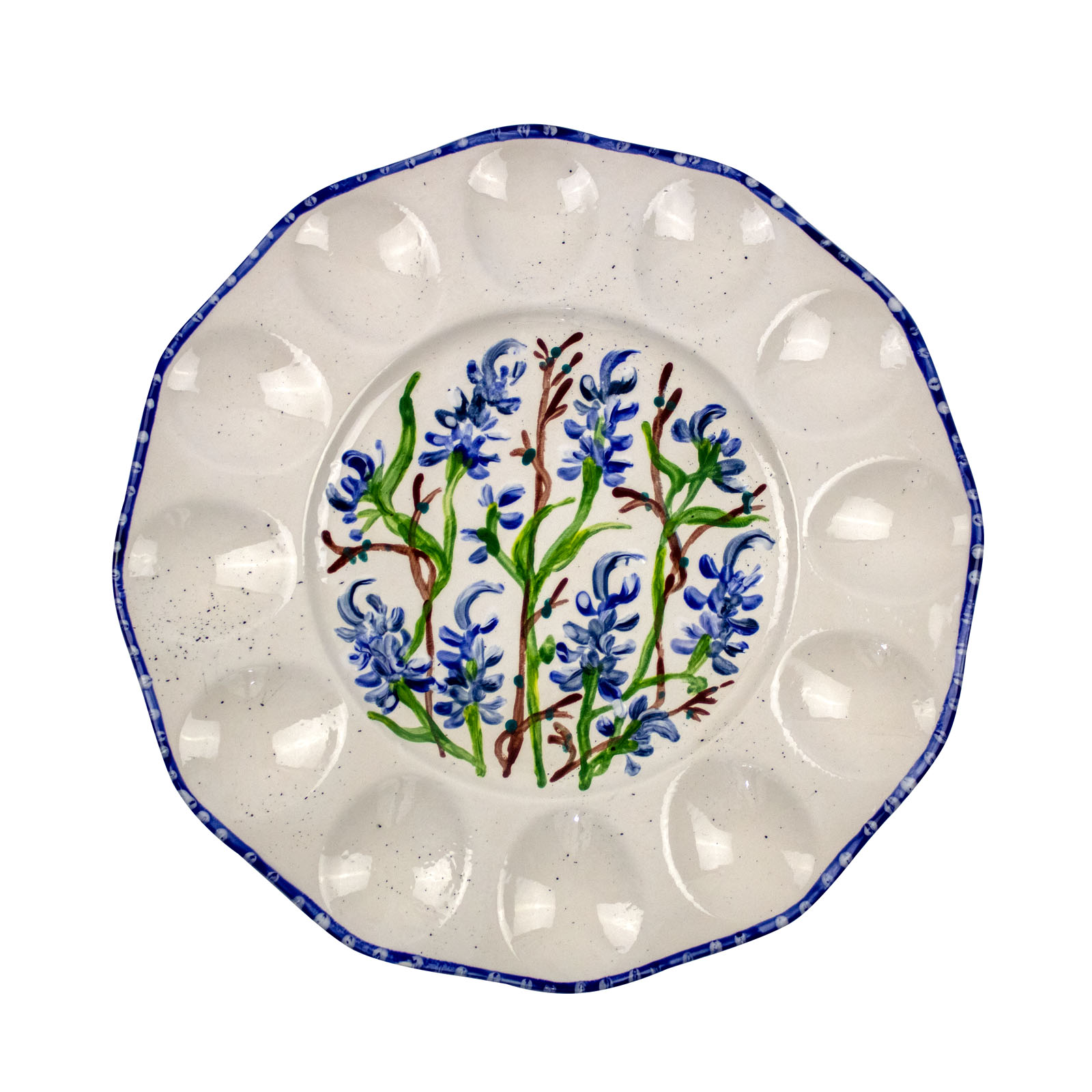Bluebonnet Hand-Painted Ceramic Egg Tray