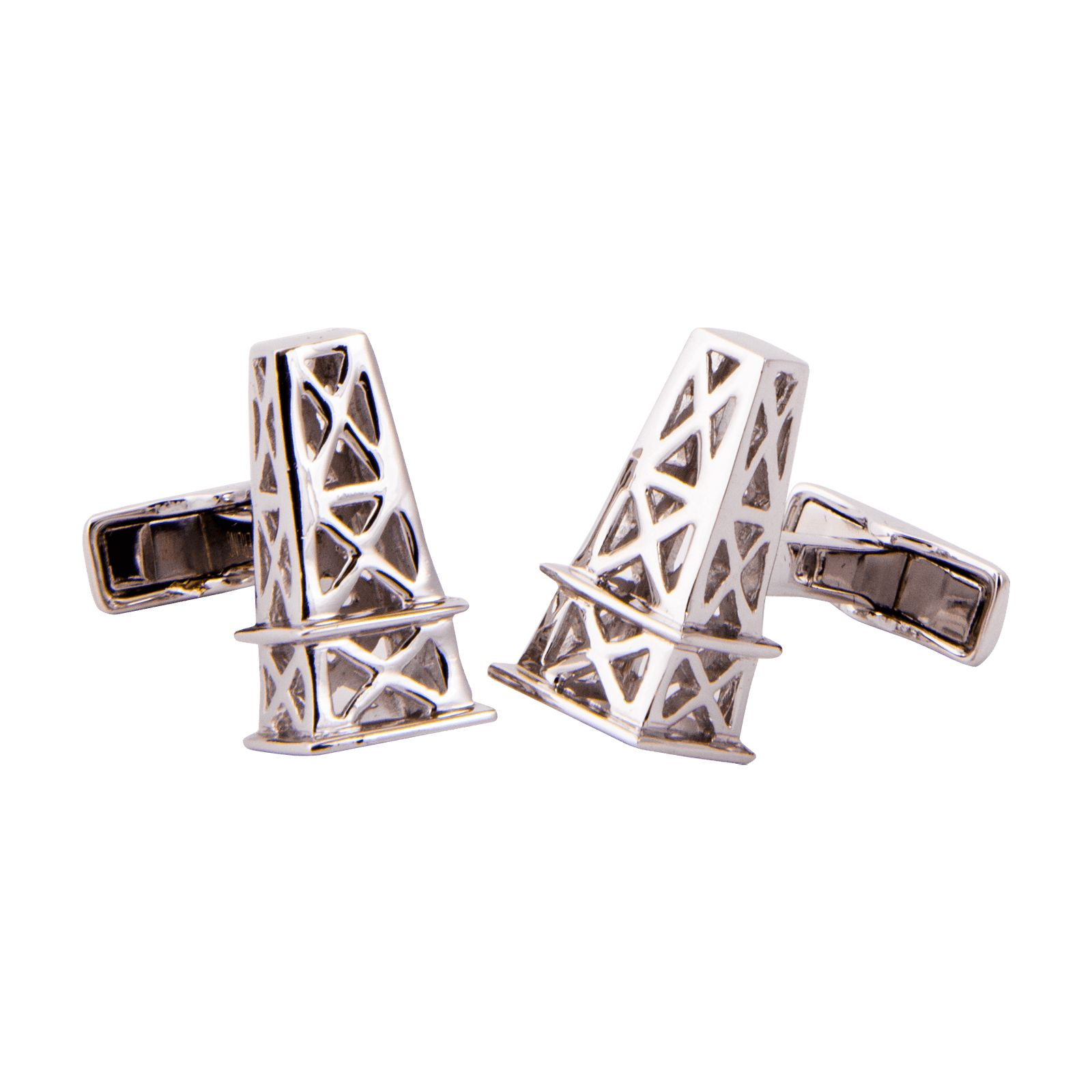 Sterling Silver Oil Derrick Cuff Links